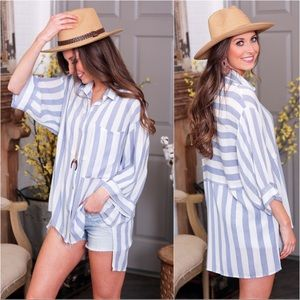 Blue striped short sleeve button up tunic